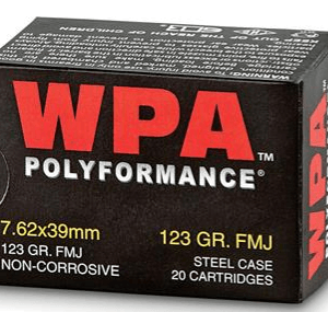 Wolf Ammunition 7.62x39mm 123 Grain FMJ Steel Case Berdan Primed