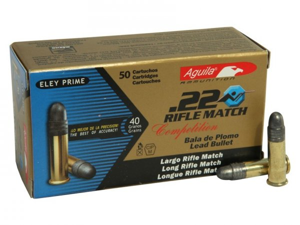 Aguila Match Rifle Ammunition 22 Long Rifle 40 Grain Lead Round Nose Box of 50